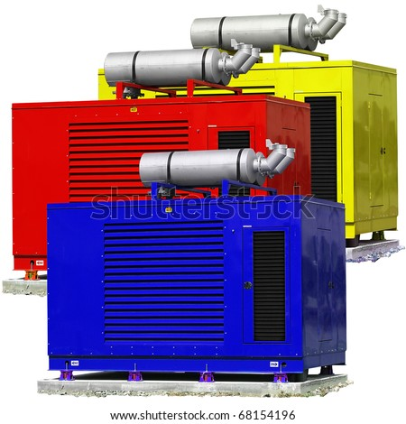 Standby generators - Blue, red & yellow electric power plants. - stock photo