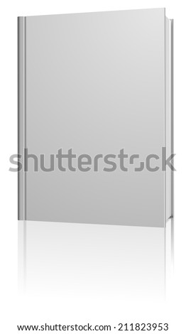 Standing blank hardcover book isolated on white background. - stock photo