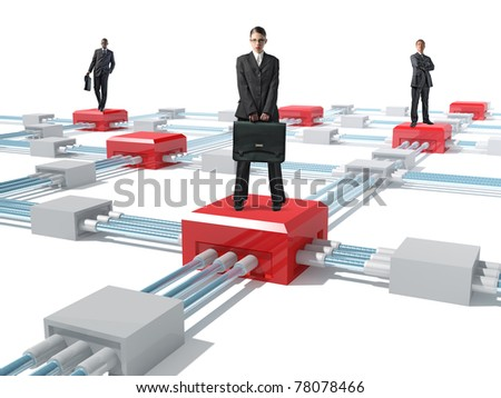 standing business people on 3d virtual web - stock photo