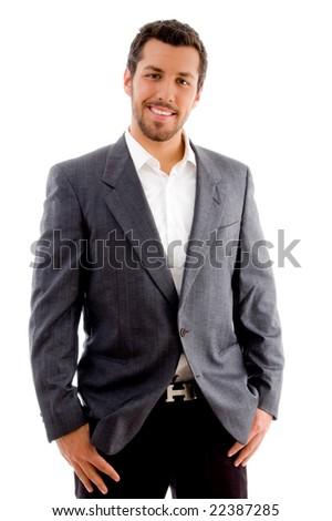 standing businessman looking at camera against white background - stock photo