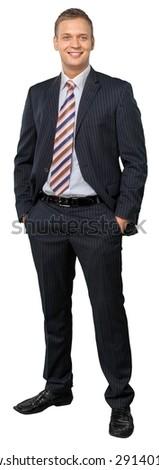 Standing, Businessman, Men. - stock photo
