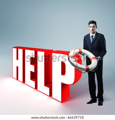 standing businessman with rescue buoy and 3d text - stock photo
