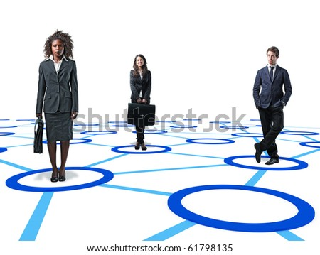 standing businesspeople on 3d virtual connection - stock photo