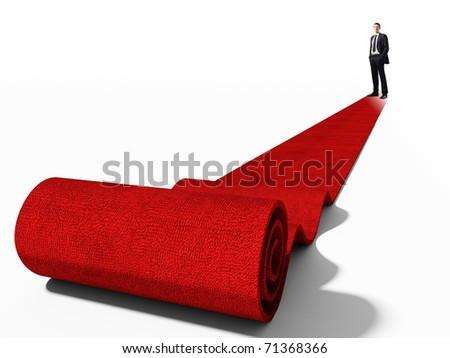 standing caucasian businessman on red carpet - stock photo