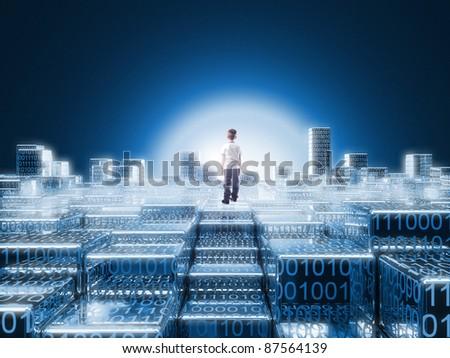 standing child in 3d binary code world - stock photo
