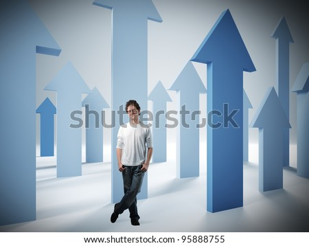 standing confident man and 3d arrows - stock photo