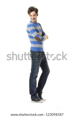 standing confident young man isolated - full body, - stock photo