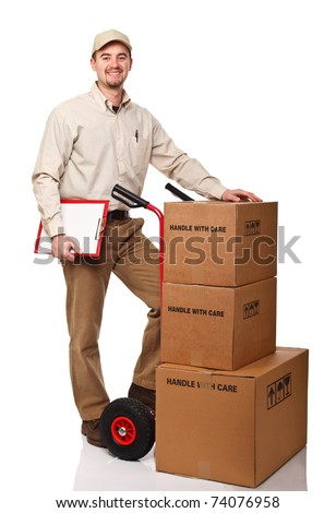 standing delivery man with red hand truck on white background - stock photo