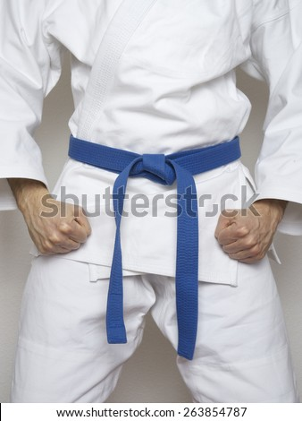 standing fighter blue belt martial arts white suit  - stock photo