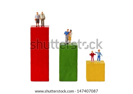 Standing figurines and Toy Bricks isolated on white background - stock photo