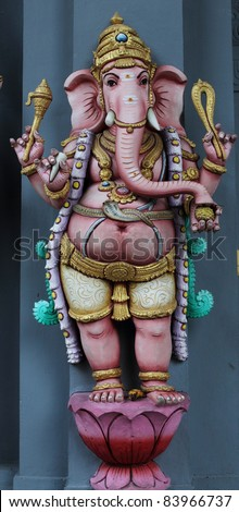 standing   ganesha  on gray  wall - stock photo
