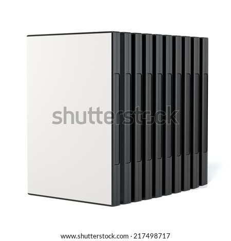 Standing in a row dvd disc boxes with a blank white covers isolated - stock photo