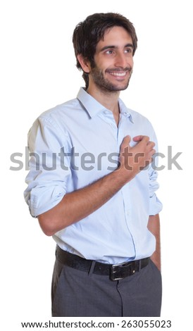 Standing latin guy with beard in dreams - stock photo