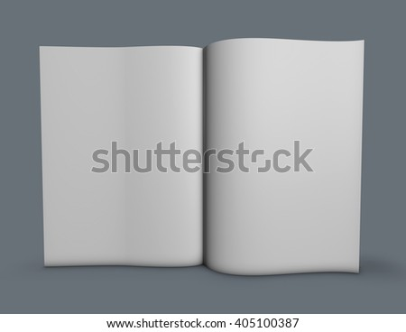 Standing magazine with opened blank pages. 3D illustration mock up, gray background. - stock photo