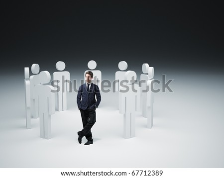 standing man and 3d people background - stock photo