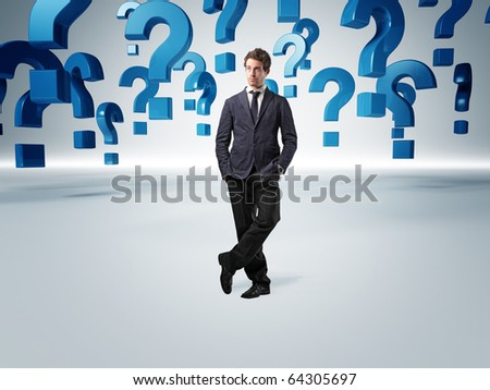 standing man and 3d question mark background - stock photo