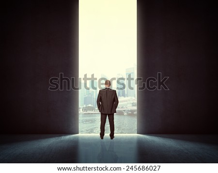 standing man and huge door with city background - stock photo