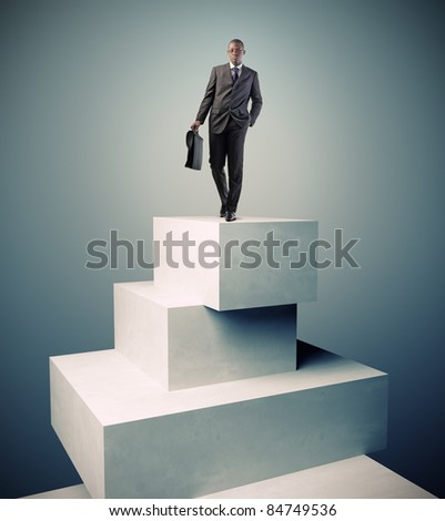 standing man on 3d concrete boxes - stock photo