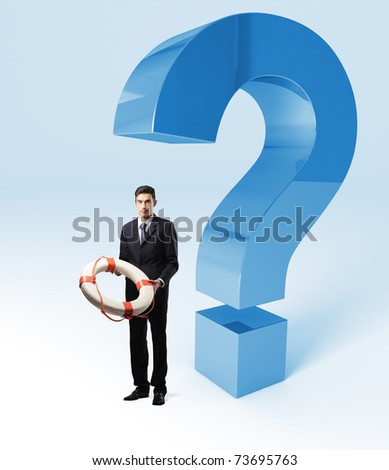standing man with rescue buoy and 3d question mark - stock photo
