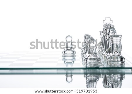 Standing Out From The Crowd, glass Chess Business Challenge  battling - stock photo
