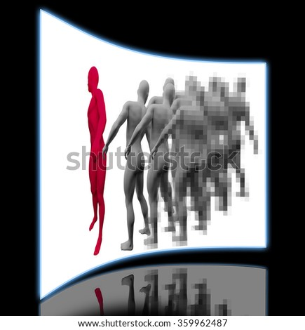 Standing Out From The Crowd made in 3d software - stock photo