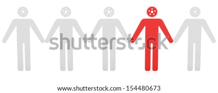 Standing out from the crowd on the white background - stock photo