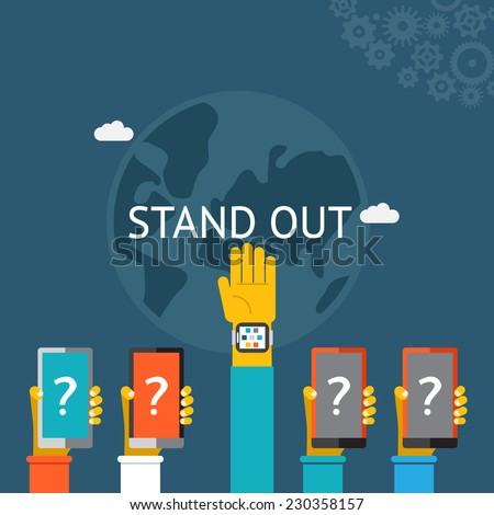 Standing out from the crowd with a row of five hands   four with question marks and one held high above the others with the answer illustration on blue - stock photo