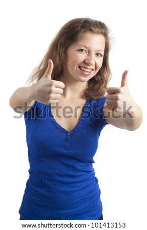 Standing, smiling woman with two thumbs up - stock photo