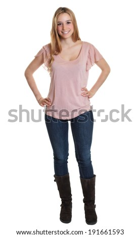 Standing student with long blond hair - stock photo