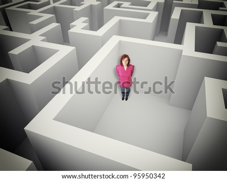 standing woman in 3d maze - stock photo
