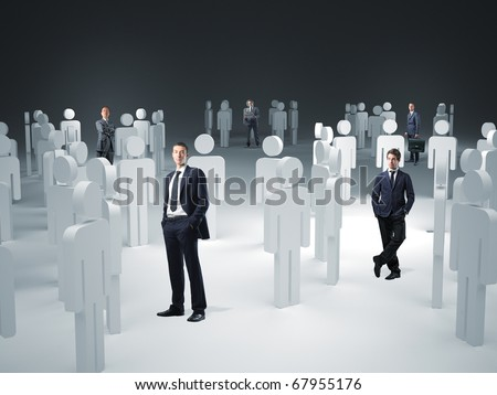 standing worker and 3d model virtual team - stock photo