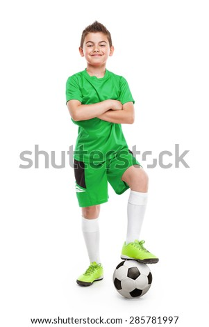 standing young soccer player with football isolated over white background - stock photo