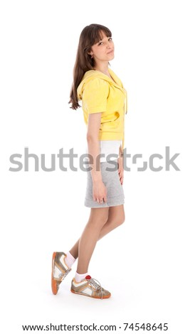 standing young woman with brown long hair - stock photo