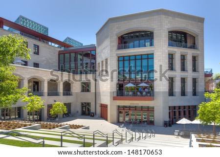 STANFORD, CA/USA - JULY 6:The Jen-Hsun Huang Engineering Center on the campus of Stanford University. July 6, 2013. - stock photo