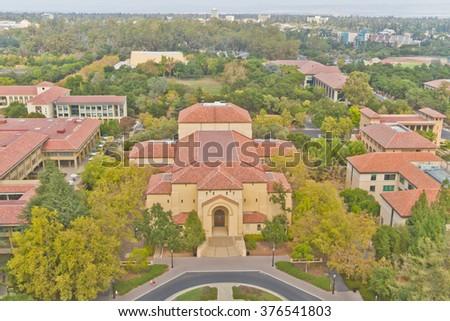 Stanford campus historical buildings . Memorial auditorium. - stock photo