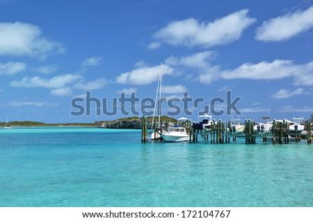 Staniel Cay yacht club. Exumas, Bahamas  - stock photo