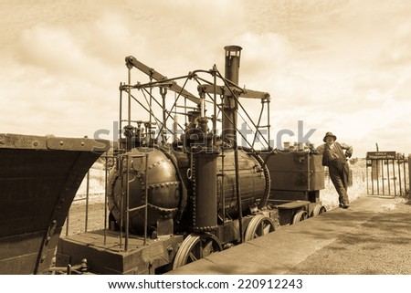 "STANLEY, ENGLAND - JULY 10. Replica locomotive ""Steam Elephant"" at the Beamish Open Air Museum on July 10, 2014, Stanley, England. - stock photo"