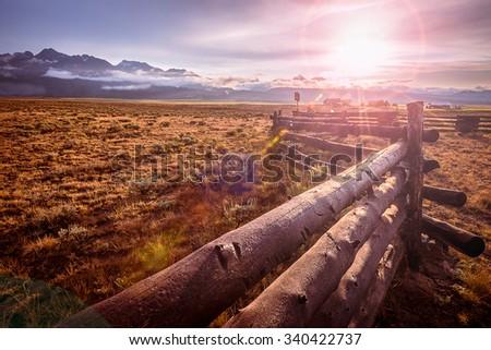 Stanley Idaho Fence, Sawtooth Mountains. - stock photo