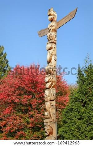Stanley Park Totem Pole, Vancouver. Stanley Park totem pole, Vancouver, British Columbia, Canada. - stock photo