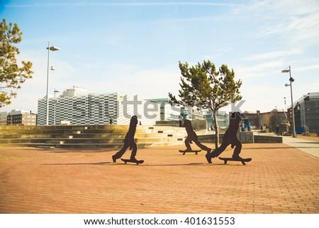 Stapelbaddsparken, famous skateboard park in Malmo,Sweden - stock photo