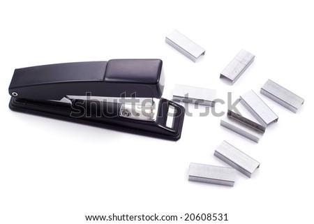 Stapler and some staples - stock photo