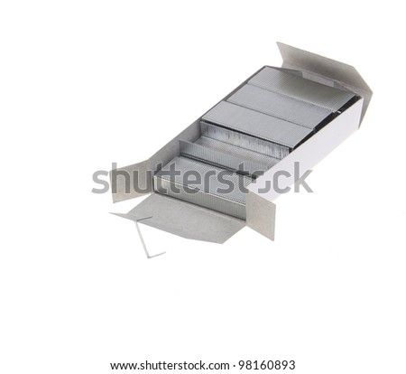 stapling nail put together on white background - stock photo