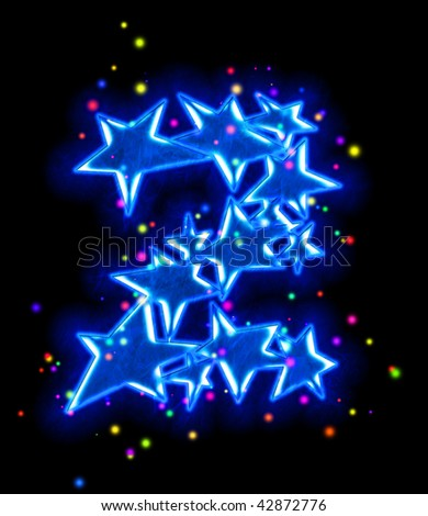 star alphabet - number two - stock photo