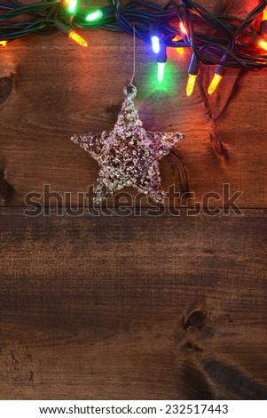 star and christmas lights - stock photo