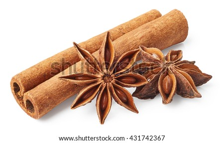 Star anise and cinnamon isolated on white background - stock photo