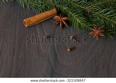 star anise and fir  on background a wooden boards  - stock photo