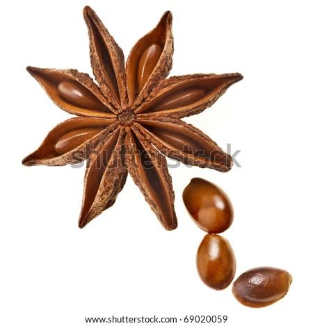 Star anise (badiane) isolated on white - stock photo