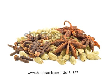 Star anise, cardamom, vanilla bark close-up - stock photo