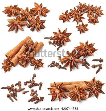 Star anise, cinnamon and cloves isolated on white background. Set - stock photo