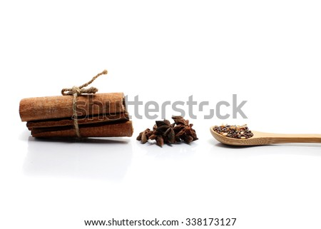 Star anise,cinnamon and food ingredients for isolate - stock photo